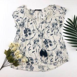 Boho linen blend blue and white floral blouse